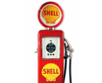 Pompe à essence Made in Usa -  SHELL rouge