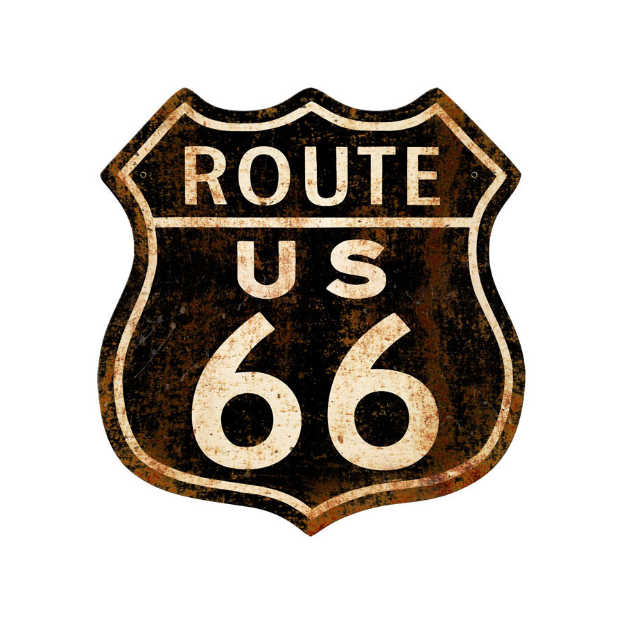 Plaque publicitaire route 66 rusty sas brust us planet for Decoration murale route 66