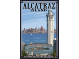 Poster de reproduction en Giclée - Alcatraz Island and City