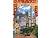 Poster de reproduction en Giclée - San Francisco California Scenes
