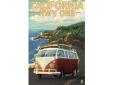 Poster de reproduction en Giclée - California Highway One Coast VW Van