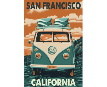 Poster de reproduction en Giclée - San Francisco VW Van