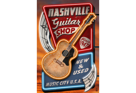 Poster de reproduction en Giclée - Acoustic Guitar Music Shop