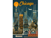 Poster de reproduction en Giclée - Chicago Illinois Skyline