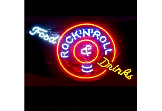 Enseigne Néon FOOD DRINK AND ROCK'N ROLL