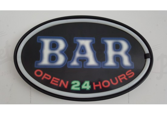 Enseigne murale à led Bar open 24 Hrs