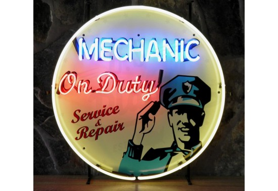 Enseigne Néon MECHANIC ON DUTY