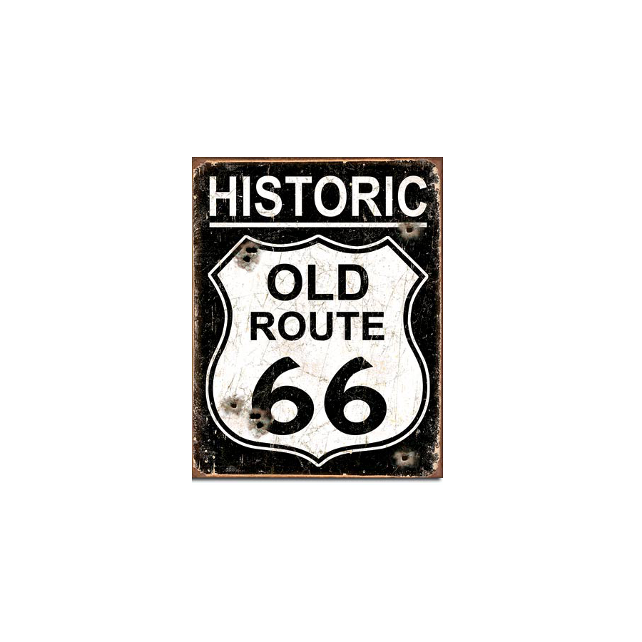Plaque publicitaire old route 66 weathered sas brust for Decoration murale route 66
